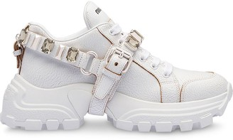 Miu Miu Crystal-Embellished Buckle Sneakers