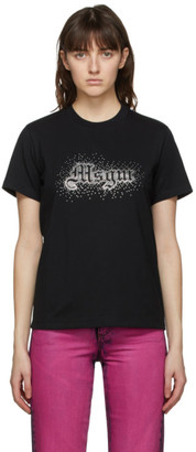 MSGM Black Rhinestone Logo T-Shirt