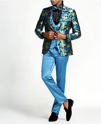 Tazzio Men Floral Slim Fit Double Breasted Vest Suit