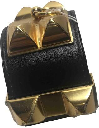 Hermes Collier de chien Black Leather Bracelets