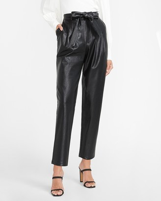 Express Super High Waisted Vegan Leather Belted Ankle Pant
