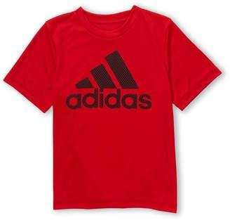 adidas Boys 4-7) Scarlet Mesh Logo Tee