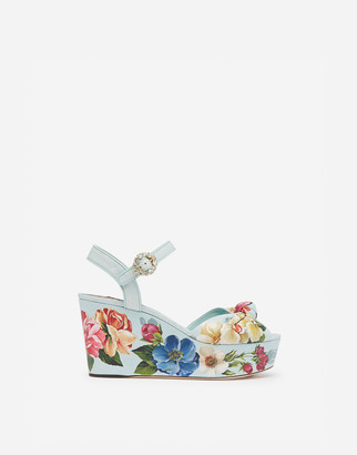 Dolce & Gabbana Nappa Leather Wedge Sandals With Floral Print