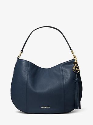 MICHAEL Michael Kors MK Brooke Large Pebbled Leather Shoulder Bag - Soft Pink - Michael Kors