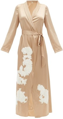 Myla Primrose Hill Floral-applique Silk-blend Robe - Beige