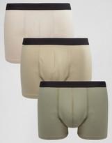 Asos Trunks In Khaki 3 Pack