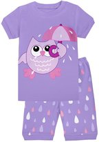 CoralBee Little Girls Owl Pajamas Toddler Kids Pjs Cotton Clothes Size 4Y