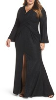 Mac Duggal Plus Size Women's Bell Sleeve Embellished Gown