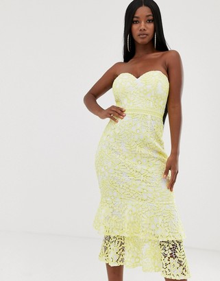 Lipsy bandeau lace midi dress with flippy hem in lemon-Yellow