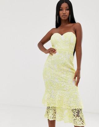 Lipsy bandeau lace midi dress with flippy hem in lemon