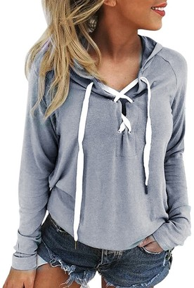 Rovinci Women's Clothing Rovinci_Clearance!! Women's Lace Up Crop Top Hoody Pull-Over Classic Hooded Sweatshirt Crop Hoodie New Cropped Sweatshirt Plain Jumper Sweater Pullover Tops Gray