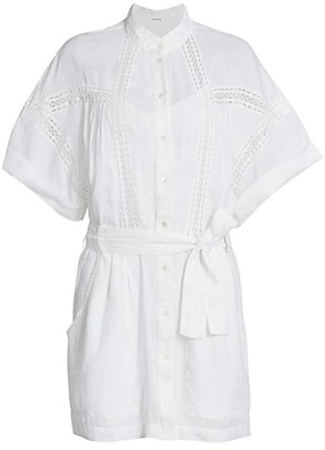 Frame Lace Panel Tie Shirtdress