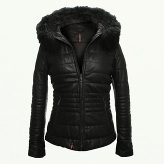 Oakwood Jellyta Quilted Black Leather Hooded Jacket