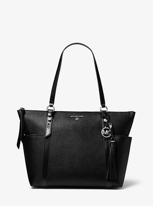 MICHAEL Michael Kors MK Nomad Large Saffiano Leather Top-Zip Tote Bag - Black - Michael Kors