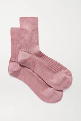 Maria La Rosa Ribbed Cashmere And Silk-blend Socks - Antique rose