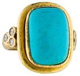 Elizabeth Locke 19K Turquoise & Diamond Cocktail Ring