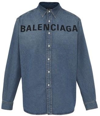 Balenciaga Logo Denim Shirt