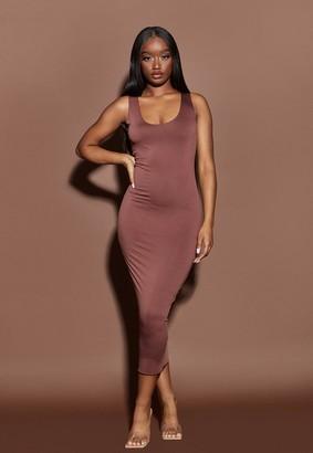 Missguided Nude Chocolate Raw Edge Slinky Racer Midaxi Dress