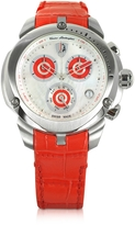 Tonino Lamborghini Shield Lady Silver Tone Stainless Steel and Red Croco Print Leather Chronograph Watch