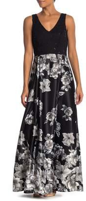 Marina V-Neck Sequin Accent Floral Dress