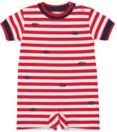 Florence Eiseman Short-Sleeve Striped Stretch Jersey Shortall, Red, Size 3-24 Months