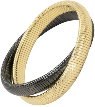 Janis Savitt High Polished Medium Gold and Gunmetal Double Cobra Bracelet