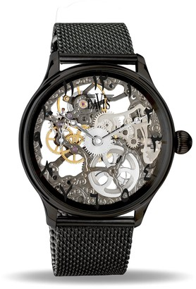 Davis Unisex Adult Skeleton Mechanical Watch with Stainless Steel Strap 0899MB East