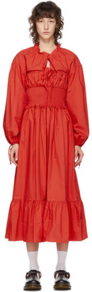 pushBUTTON SSENSE Exclusive Red Cotton Smocked Dress