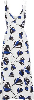 Jason Wu Grey Tie-back Printed Crepe Midi Dress