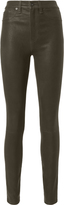 Rag & Bone High-Rise Skinny Olive Leather Pants
