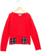Junior Gaultier Girls' Plaid-Accented Button-Up Cardigan w/ Tags
