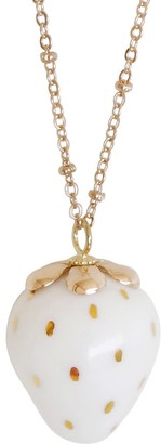 Poporcelain Golden White Porcelain Strawberry Necklace