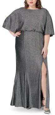 Marée Pour Toi Plus Size Metallic Blouson Gown