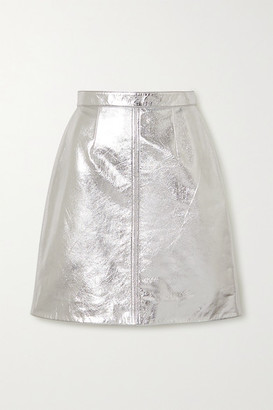 ALEXACHUNG Metallic Cracked-leather Midi Skirt - Silver