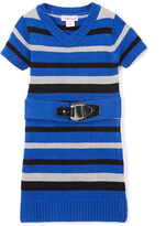 Pink Angel Rugby Blue Stripe Belted Sweater Dress - Infant Toddler & Girls