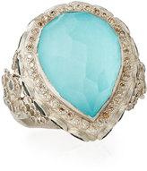 Armenta New World Turquoise Doublet Cocktail Ring w/ Mixed Diamonds & Tourmaline, Size 6.5