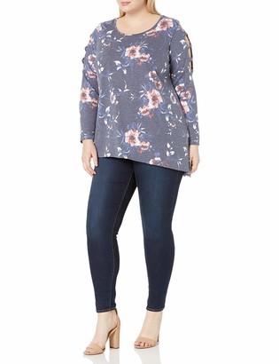 Amy Byer Women's Plus Size Split Back Long Sleeve Top