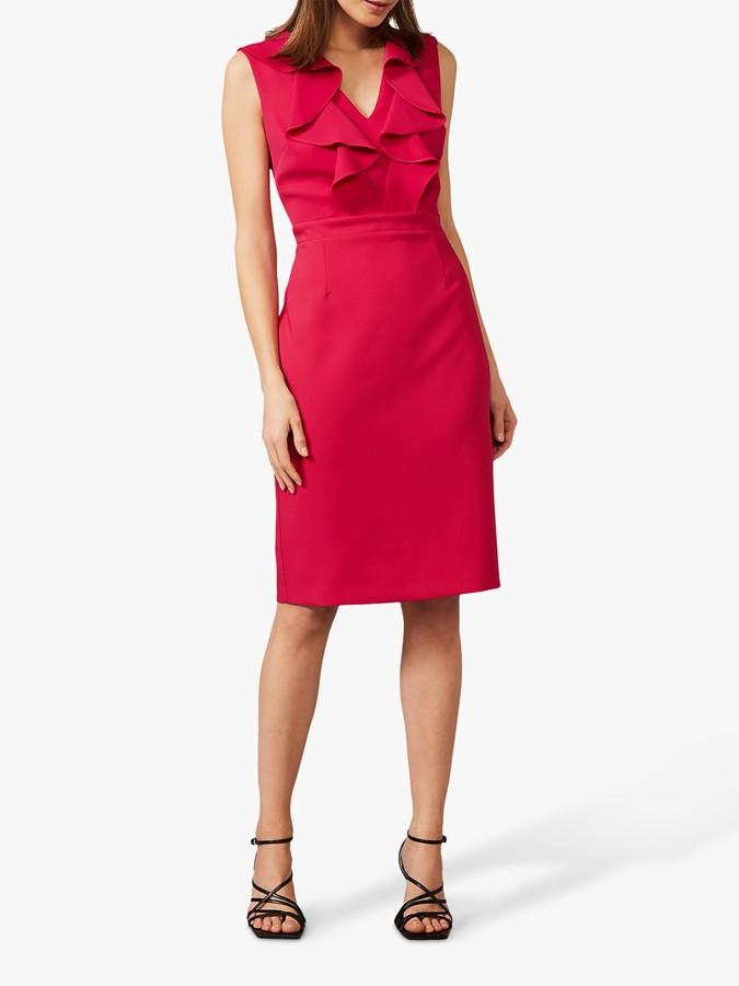 Phase Eight Linda Frill Mini Dress, Lipstick