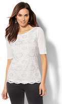 New York & Co. Metallic Lace Overlay Top