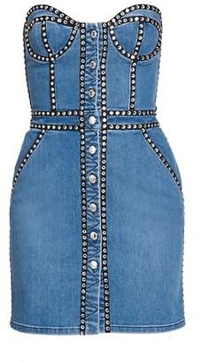 Moschino Strapless Studded Denim Sheath Dress