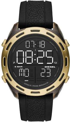 Diesel Crusher Black and Gold Detail Digital Dial Black Silicone Strap Mens Watch