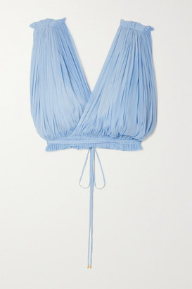 ELENA MAKRI Antigone Cropped Draped Silk-tulle Top - Blue