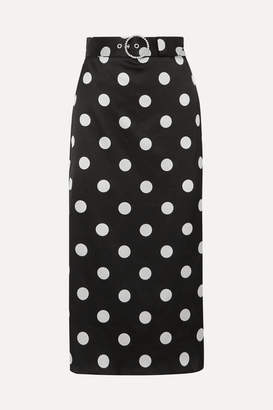 Art Dealer - Eva Belted Polka-dot Satin Midi Skirt - Black