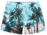 River Island Mens Blue palm tree beach scene print swim shorts