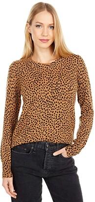 J.Crew Wild Cheetah Cashmere Crew Neck Sweater (Burnished Timber Black) Women's Sweater