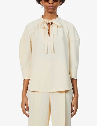 See by Chloe Scalloped high-neck crepe top