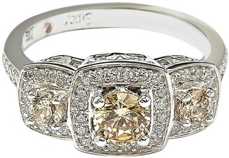 Suzy Levian Sterling Silver Chocolate CZ Engagement Ring