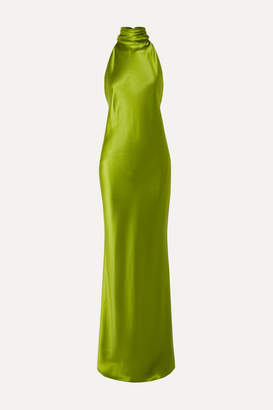 Brandon Maxwell Open-back Silk-charmeuse Halterneck Gown - Lime green