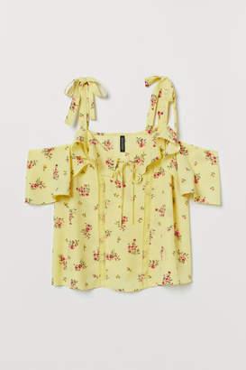 H&M Open-shoulder Blouse - Yellow