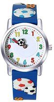 Jewtme Kids' JW0044 football Pattern Silicone Strap Cartoon Watch Blue